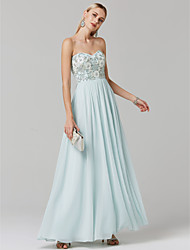 cheap -Ball Gown Elegant Open Back Pastel Colors Prom Formal Evening Dress Sweetheart Neckline Sleeveless Floor Length Chiffon with Beading Appliques 2020