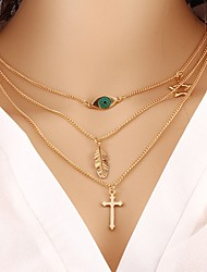 cheap -Women's Layered Necklace Cross Leaf Ladies Classic Fashion Alloy Gold Necklace Jewelry For Gift Daily