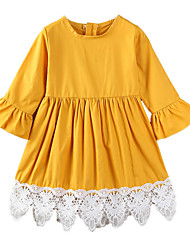 cheap -Toddler Girls' Simple Casual Daily Going out Solid Colored Patchwork Flower Ruffle Stylish Dress Yellow / Cotton