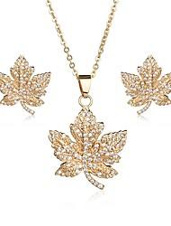 cheap -Women's Cubic Zirconia tiny diamond Stud Earrings Pendant Necklace Leaf Ladies Sweet Elegant Zircon Earrings Jewelry Gold / Silver For Wedding Party