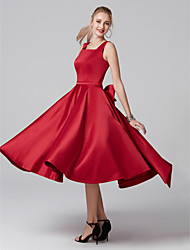 cheap -A-Line Square Neck Tea Length Satin Elegant Cocktail Party / Homecoming Dress with Bow(s) / Pleats 2020
