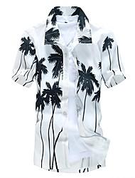 Недорогие -Муж. Пляж С принтом Большие размеры - Рубашка Воротник-визитка Тонкие Деревья / листья Белый / С короткими рукавами / Лето