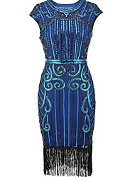 cheap -The Great Gatsby Charleston Vintage 1920s The Great Gatsby Roaring Twenties Flapper Dress Women's Sequins Costume Black / Golden / Green Vintage Cosplay Party Homecoming Prom Sleeveless Knee Length