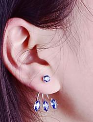 cheap -Women's Cubic Zirconia Stud Earrings Jacket Earrings Ladies Simple Fashion Zircon Earrings Jewelry Orange / Blue / Light Pink For Daily Work