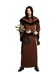 cheap -Wizard Costume Adults' Men's Halloween Halloween Carnival Children's Day Festival / Holiday Polyster Coffee Carnival Costumes Solid Colored Halloween