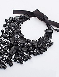 cheap -Women's Y Necklace Drop Ladies Classic Fashion Imitation Pearl Zircon Lace Black Necklace Jewelry For Party Ceremony