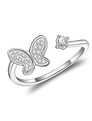 cheap -Women's Open Cuff Ring Cubic Zirconia Silver Zircon Silver Plated Geometric Classic Wedding Evening Party Jewelry Flower Bowknot