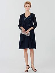 cheap -Sheath / Column V Neck Knee Length Chiffon / Beaded Lace 3/4 Length Sleeve Plus Size / Elegant Mother of the Bride Dress with Beading / Appliques 2020 / Illusion Sleeve