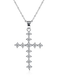 cheap -Women's Cubic Zirconia tiny diamond Pendant Necklace Cross Ladies Fashion S925 Sterling Silver Silver Necklace Jewelry One-piece Suit For Gift Daily