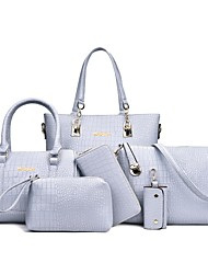 cheap -Women's Embossed PU Leather Bag Set Bag Sets Crocodile 6 Pieces Purse Set White / Black / Blue / Fall & Winter