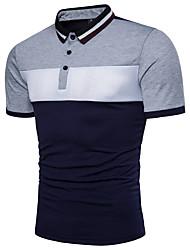cheap -Men's Daily Active Cotton Polo - Color Block Black & White, Basic Shirt Collar Red / Short Sleeve / Summer