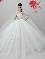 Недорогие -Платье куклы Платья Однотонные Свадьба Для Barbie Белый Тюль Кружево Шелково-шерстяная ткань Платье Для Девичий игрушки куклы