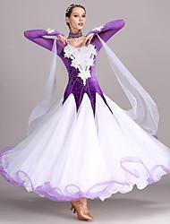 cheap -Ballroom Dance Dresses Women's Training Performance Tulle Velvet Appliques Crystals / Rhinestones Long Sleeves High Dress Neckwear