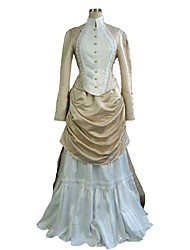 cheap -Duchess Victorian 1910s Edwardian Dress Outfits Women's Costume Beige Vintage Cosplay Long Sleeve Floor Length Plus Size Customized / Top / Top