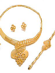 cheap -Women's Jewelry Set Statement Ladies Fashion African Gold Plated Earrings Jewelry Gold For Wedding Party