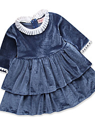 cheap -Toddler Girls' Simple Casual Daily Solid Colored Ruched Long Sleeve Dress Blue / Cotton