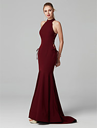 cheap -Mermaid / Trumpet Elegant Prom Formal Evening Dress Halter Neck Sleeveless Sweep / Brush Train Spandex with Hollow-out 2020