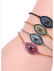 cheap -Women's Cubic Zirconia Chain Bracelet Ladies Formal Simple Fashion Stainless Steel Bracelet Jewelry Black / Silver / Rose Gold Evil Eye For Gift Daily / Gold Plated