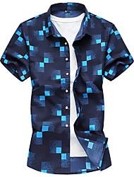cheap -Men's Daily Cotton Slim Shirt - Plaid White / Short Sleeve / Spring / Summer