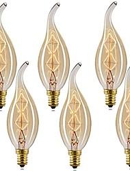 cheap -6pcs 40 W E14 C35L Warm White 2200-2700 k Retro / Dimmable / Decorative Incandescent Vintage Edison Light Bulb 220-240 V