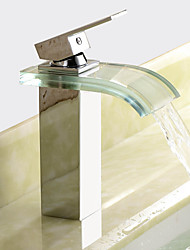 cheap -Bathroom Sink Faucet - Waterfall Chrome Centerset One Hole / Single Handle One HoleBath Taps / Brass