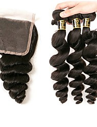 cheap -3 Bundles with Closure Brazilian Hair Wavy Loose Wave Human Hair 100% Remy Hair Weave Bundles Black Natural Color Human Hair Weaves Designers Hot Sale Human Hair Extensions / 10A
