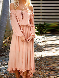 cheap -Women's Maxi Dusty Rose Dress - Long Sleeve Solid Colored Lace Spring Summer Off Shoulder Boho Holiday White Blushing Pink S M L XL