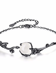 cheap -Women's Jade Moonstone Chain Bracelet Flower Ladies Fashion Alloy Bracelet Jewelry Black For Daily Formal