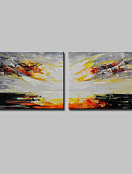 cheap -Mintura® 2 Panels Hand-Painted Modern Abstract Rising Sun Oil Painting On Canvas Wall Art Picture For Home Decoration Ready To Hang
