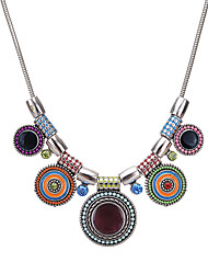 cheap -Women's Chain Necklace Statement Necklace Bib Ladies Vintage Ethnic Fashion Resin Alloy Black Rainbow Red 41 cm Necklace Jewelry For Party / Evening Gift