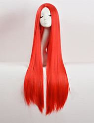 cheap -Cosplay Costume Wig Synthetic Wig Straight Yaki Straight Asymmetrical Wig Very Long Pink Blue Natural Black Purple Red Synthetic Hair Women's Natural Hairline Middle Part Red