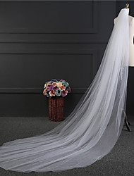 cheap -Two-tier Simple Style Wedding Veil Chapel Veils with Fringe Tulle / Straight Cut