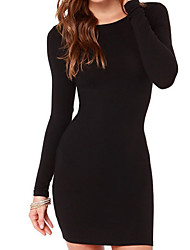 cheap -Women's Daily Basic Skinny Bodycon Dress - Solid Colored Black High Waist Summer Black Red Gray S M L XL / Sexy