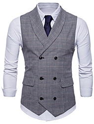 cheap -Men's Daily / Holiday Vintage Spring / Fall Plus Size Regular Vest, Plaid Shirt Collar Sleeveless Polyester Brown / Dark Gray / Light gray / Slim