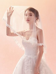 cheap -One-tier Lace Applique Edge / Veil Wedding Veil Elbow Veils / Fingertip Veils with Pattern Lace / Tulle / Classic