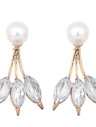 cheap -Women's Crystal Stud Earrings Hoop Earrings Drop Vintage Fashion Crystal Imitation Pearl Earrings Jewelry Gold / White For Holiday Work