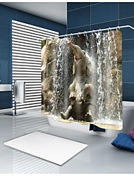 cheap -Elephant Bathing Pattern Shower Curtains with Hooks 3D Printed Gray Contemporary Polyester Waterproof Bathub Curtain