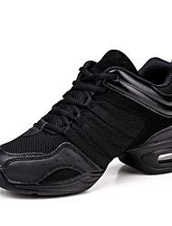 cheap -Women's Dance Shoes Canvas / Tulle Dance Sneakers Splicing Sneaker Low Heel Customizable Black / EU37