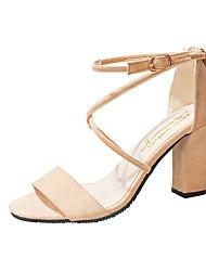 cheap -Women's Heels Block Heel Sandals Chunky Heel Round Toe PU Comfort / Basic Pump Spring / Summer Black / Almond / Dusty Rose / Party & Evening / Party & Evening