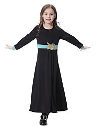 cheap -Kids Girls' Boho Daily Color Block Long Sleeve Dress Purple
