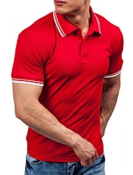 cheap -Men's Solid Colored Polo - Cotton Sports Going out Round Neck White / Black / Purple / Red / Yellow / Fuchsia / Orange / Light Blue / Short Sleeve