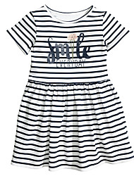 cheap -Toddler Girls' Casual Active Basic Daily Going out Solid Colored Striped Backless Cut Out Vintage Style Short Sleeve Dress White / Cotton