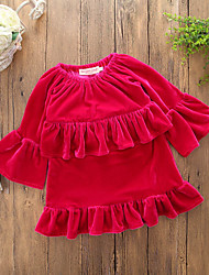 cheap -Toddler Girls' Simple Daily Going out Solid Colored Peplum Ruffle Novelty Long Sleeve Dress Red / Cute / Lace up