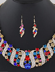 cheap -Women's Drop Earrings Statement Necklace Bridal Jewelry Sets Geometrical Rainbow Wave Ladies Fashion Elegant Crystal Earrings Jewelry Black / White / Champagne For Wedding Evening Party