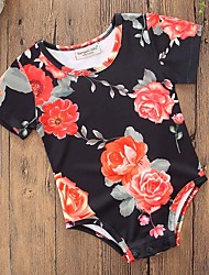 cheap -Baby Girls' Simple / Casual Party / Daily Floral Classic / Stylish / Floral Short Sleeves Cotton Bodysuit Black / Print / Toddler