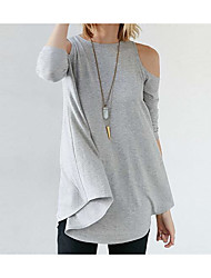 cheap -Women's Daily Cotton T-shirt - Solid Colored White / Spring