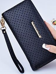 cheap -Women's Zipper PU Leather Wallet Geometric Black