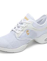 cheap -Women's Dance Shoes Net Dance Sneakers Sneaker Flat Heel Customizable White / Black / Peach / Indoor / EU38
