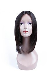 cheap -Synthetic Lace Front Wig Yaki Straight Yaki Straight Layered Haircut Lace Front Wig Medium Length Natural Black Synthetic Hair Women's Natural Hairline Black