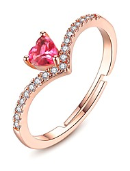 cheap -Women's Open Cuff Ring Cubic Zirconia Garnet tiny diamond Pink Gemstone Copper Rose Gold Plated Ladies Classic Fashion Gift Date Jewelry Heart